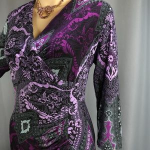 Evan Picone Dress Size 12 Purple Gray Print